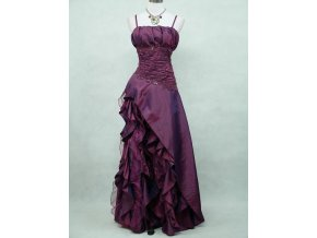 Tmavě fialové společenské šaty s volánky asymetrickou sukní B5676