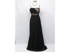 Černé dlouhé společenské šaty na ples pro těhotné plnoštíhlé se zlatou krajkou asymetrický top 2346