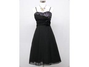 Černé krátké společenské šaty koktejlky a asymetrickým topem a růží C3239