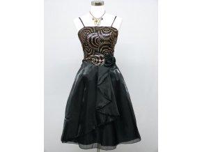 černé krátké společenské šaty koktejlky se zlatou aplikací do tanečních C3244