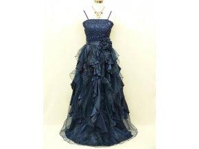 Tmavě modré dlouhé společenské šaty na ples s volány a kanýry C3132