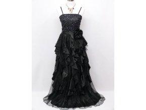 černé dlouhé levné společenské šaty na ples s volány a organzy C3127