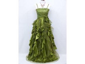 Světle zelené společenské šaty s volány do společnosti C3122