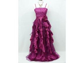 Fialové růžové plesové šaty zdobené s volány na ples na svatbu C 3117