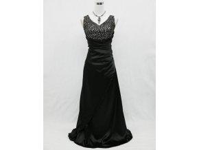 Černé dlouhé plesové společenské šaty na svatbu se stříbrnozlatou nášivkou