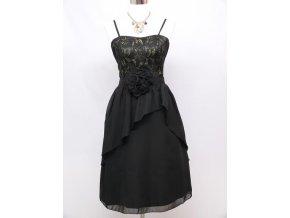 Černé koktejlky společenské šaty s kytkou 1