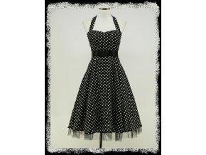 Černobílé puntíkaté letní stylové společenské šaty po kolena 4