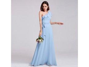 Modré dlouhé společenské šaty luxusní s volánem na jedno rameno 3