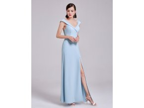 Světle modré dlouhé luxusní společenské šaty pouzdrové s rozparkem 4