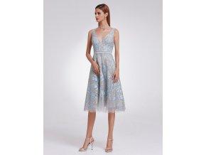 Šedé stříbrné modré koktejlky krástké společenské šaty luxusní na svatbu