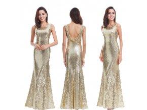 Zlaté dlouhé elegantní sexy šaty na ples s flitry 5