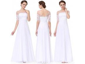 7e597895b9ea Bílé dlouhé elegantní svatební šaty s krajkou a rukávy na svatbu