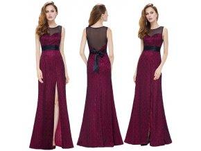 Červené černé úplé šaty s mašlí a rozparkem a krajkou na ples