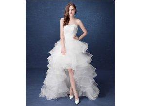 Bílé luxusní asymetrické svatební šaty s volánovou vlečkou bez ramínek