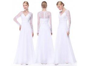 Bílé dlouhé svatební šaty s krajkou a dlouhým rukávem