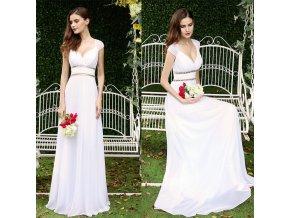 Bílé dlouhé svatební šaty ala řecká bohyně