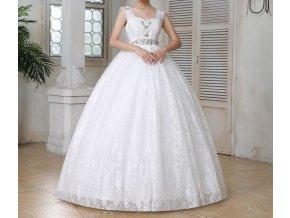 Bílé luxusní svatební šaty na ramínka pro těhotné 16
