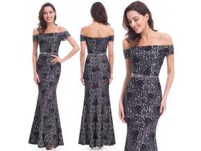 Černo bílé šedé krajkové pouzdrové šaty z krajky na ples 7