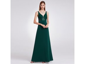 31a6236f2493 Tmavě zelené společenské šaty s krajkou na ramínka