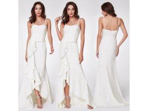 Bílé svatební sexy šaty s volánovou sukní na posuvná ramínka 11