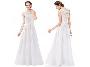 Bílé dlouhé svtební šaty s krajkou na svatbu