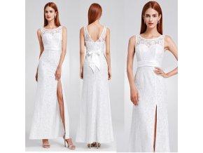 Bílé krajkové svatební šaty s rozparkem a mašlí na svatbu
