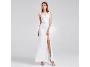 Bílé krajkové svatební šaty s rozparkem a mašlí na svatbu 1