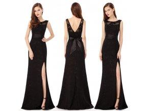Černé krajkové společenské šaty s rozparkem a mašlí na ples
