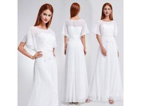Bílé dlouhé luxusní svatební šaty s rukávem 8e74b84efd