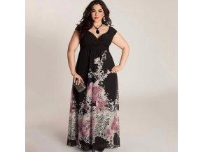 Černé květované společenské šaty pro plnštíhlé baculky na široká ramínka