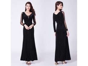 Černé dlouhé sametové šaty s rukávy na ples