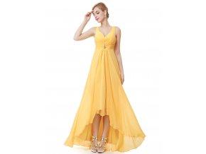 Žluté společenské šaty na ramínka vpředu kratší 4