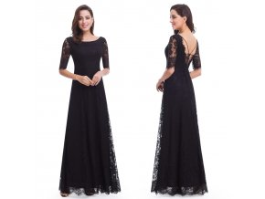 Černé dlouhé společenské šaty s krajkou, rukávem a šněrovačkou