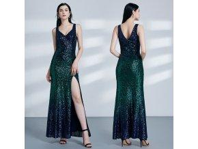 Zelené modré tmavé flitrové společenské šaty alá mořská panna