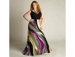 Černé barevné společenské šaty pro boubelky plnoštíhlé