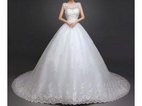 Bílé luxusní svatební šaty s kopretinami a dlouhou vlečkou nadýchané 6