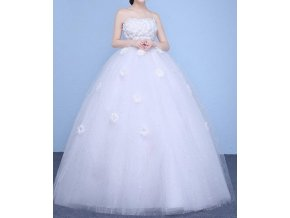 Bílé luxusní těhotenské šaty pro těhotné s kopretinami bez ramínek