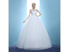 Bílé dlouhé luxusní svatební šaty pro těhotné s kopretinami