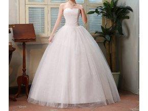 Bílé dlouhé svatební šaty pošité krajkou bez ramínek