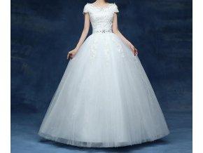 Bílé dlouhé svatební luxusní šaty se štrasovou ozdobou a krajkou 1