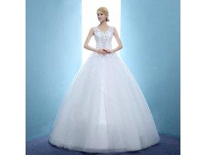 Bílé dlouhé luxsní svatební šaty pro boubelky s kamínky a krajkou