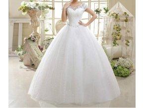 Bílé dlouhé svatební šaty luxusní s krajkou štrasem s rukávky 1