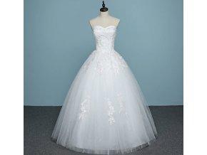 Bílé jednoduché svatební luxusní šaty bez ramínek s krajkou
