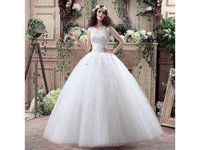 Bílé dlouhé luxusní svatební šaty se štrasovými kytičky na ramínka 4