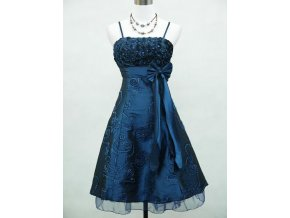 Modré krátké společenské šaty po kolena na ramínka s mašlí B4280a
