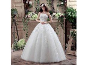 Bílé luxusní dlouhé svatební šaty s kytičkami na svatbu 1