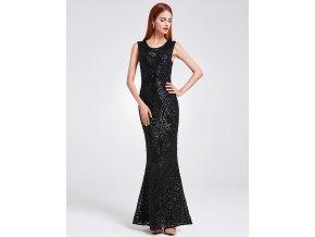 Černé luxusní elastické společenské šaty s flitry sexy