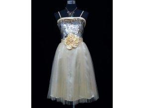 Žluté ivory béžové krátké společenské šaty po kolena na ples C3663a