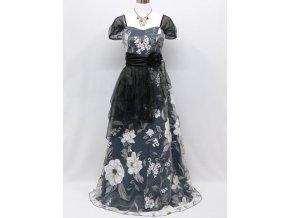 Šedé črné bílé květinové vzdušné společenské šaty s rukávky C3771a