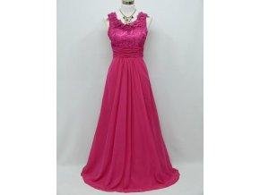 Růžové společenské šaty na široká ramínka s krajkovým topem C4026a
